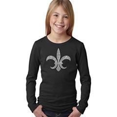 Los Angeles Pop Art Fleur De Lis - Popular Louisiana Cities Long Sleeve Graphic T-Shirt Girls