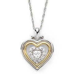 Lab-Created White Sapphire Two-Tone Heart Pendant Necklace