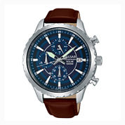 Pulsar® Men'S Brown Blue Dial Solar Chronograph Leather Strap Watch Pz6015