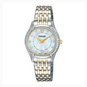 Pulsar® Ladies Two Tone with Mother of Pearl Dial and Swarovski Crystal Accents PM2233
