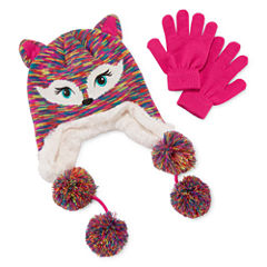Capelli of New York Fox Space-Dye Hat & Gloves Set - Girls 7-16