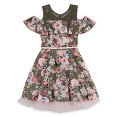 Knit Works Floral Cold Shoulder Skater Dress - Girls' 7-16