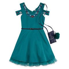 Knit Works Floral Neckline Cold Shoulder Skater Dress w/ Purse - Girls' 7-16
