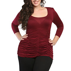 24/7 Comfort Apparel 3/4 Sleeve Shirred T-Shirt-Womens Plus