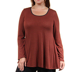 24/7 Comfort Apparel Red Striped Tube Top Plus