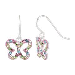 Children's Sterling Silver Multi-color Crystal Butterfly Drop Earrings