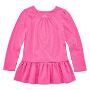 Okie Dokie® Long-Sleeve Peplum Top - Toddler Girls 2t-5t