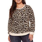 Liz Claiborne® Long-Sleeve Leopard Print Pullover Top - Plus