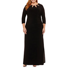 Scarlett Long Sleeve Cut Outs Embellished Evening Gown-Plus