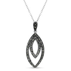 Womens Black Marcasite Sterling Silver Pendant Necklace