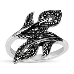 Womens Black Marcasite Sterling Silver Bypass Ring