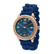 TKO ORLOGI Womens Crystal-Accent Chain-Link Blue Silicone Strap Stretch Watch