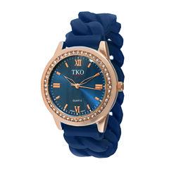 TKO ORLOGI Womens Crystal-Accent Chain-Link Blue Silicone Strap Stretch Watch