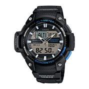 Casio® Twin Sensor Mens Black Resin Strap Analog/Digital Sport Watch SGW450H-1A