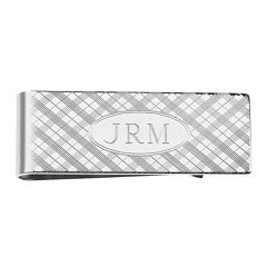 Personalized Plaid Pattern Money Clip