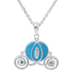 Disney White Crystal Silver Plated Brass Carriage Pendant Necklace