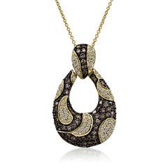 Levian Corp Le Vian Womens 1 1/2 CT. T.W. White Diamond 14K Gold Pendant Necklace