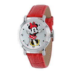 Disney Minnie Mouse Womens Red Leather Strap Watch
