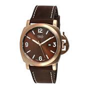 TKO ORLOGI Mens Brown Leather Strap Watch