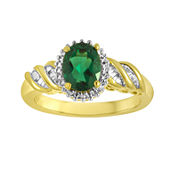 Lab-Created Emerald and Diamond-Accent Twist Ring