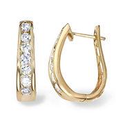 1 CT. T.W. Diamond 14K Yellow Gold Hoop Earrings