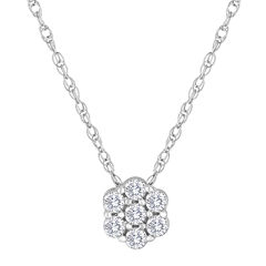 diamond blossom 1/3 CT. T.W. Diamond Sterling Silver Pendant Necklace