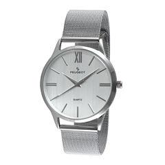 Peugeot® Mens Gray Dial Stainless Steel Mesh Watch 1052SBK