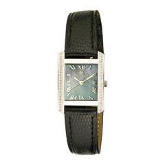 Croton Rhonda Womens Diamond-Accent Lizard-Look Black Leather Strap Rectangular Watch