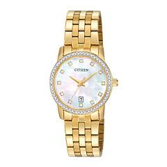 Citizen® Womens Crystal-Accent Gold-Tone Stainless Steel Bracelet Watch EU6032-51D