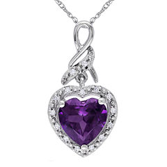 Lab-Created Alexandrite 10K White Gold Heart-Shaped Pendant Necklace