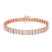 1/2 CT. T.W. Diamond 14K Rose Gold Over Sterling Silver Square-Link Bracelet