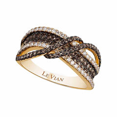 Grand Sample Sale™ by Le Vian®  featuring 1/3ct of Vanilla Diamonds® and 3/4ct of Chocolate Diamonds® set in 14k Honey Gold™ Chocolatier® Ring