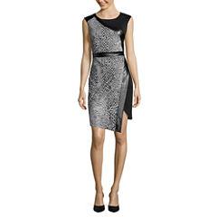 Worthington® Cap-Sleeve Pleather-Trim Sheath Dress - Tall