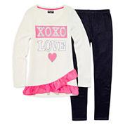 XOXO® Long-Sleeve Graphic Hatchi Top and Denim Knit Leggings Set - Girls 7-12