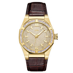 JBW 18k Gold-Plated Stainless-Steel Apollo Mens Brown Strap Watch-J6350b