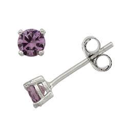 Round Purple Cubic Zirconia Sterling Silver Stud Earrings