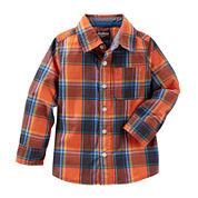 OshKosh B'gosh® Long-Sleeve Orange Woven Shirt - Toddler Boys 2t-5t