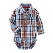 OshKosh B'gosh® Long-Sleeve Blue Plaid Bodysuit - Baby Boys 3m-24m