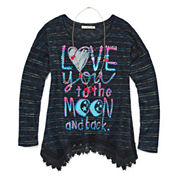Self Esteem® Long-Sleeve Graphic Sharkbite Tunic with Necklace - Girls Small-XXL Plus