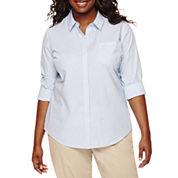 Arizona Long-Sleeve Woven Uniform Shirt - Juniors Plus