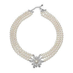 Cultured Freshwater Pearl and Crystal Three-Row Necklace