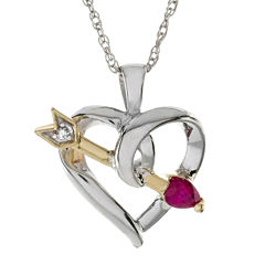 Heart-Shaped Lead Glass-Filled Ruby and Diamond-Accent Heart and Arrow Pendant Necklace