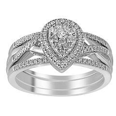 I Said Yes Womens 3/8 CT. T.W. Genuine White Diamond Platinaire Bridal Set