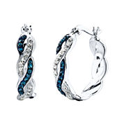 Crystal Sophistication™ Blue & Clear Crystal-Accent Twisted Hoop Earrings