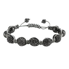 Men's Hematite & Two-Tone Crystal Bracelet