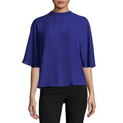 Worthington Short Sleeve Crew Neck Dobby Blouse