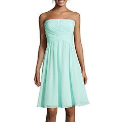 Blu Sage Strapless Ruched A-Line Dress