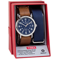Timex Weekender 40 Box Set Mens Brown 2-pc. Watch Boxed Set-Twg015000jt