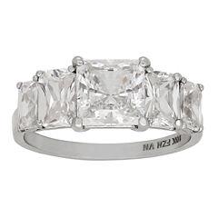 Diamonart Womens 3 3/4 CT. T.W. Lab Created Princess White Cubic Zirconia 10K Gold Engagement Ring