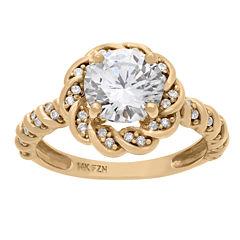 Diamonart Womens 1 1/2 CT. T.W. Round White Cubic Zirconia 10K Gold Engagement Ring